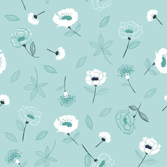 Monotone on light blue Blossom  Floral pattern in the blooming botanical  Seamless vector texture.