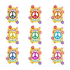 Love and peace hippie style design icon or logo, color set