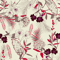 Trendy vintage forest blooming garden outline and hand painting flowers many kind of floral in seamless pattern