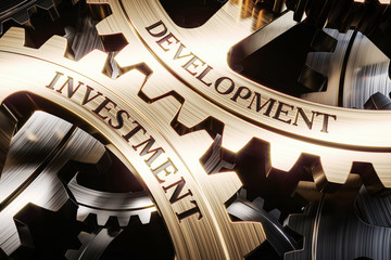 Investment and development gears mechanism concept 3d