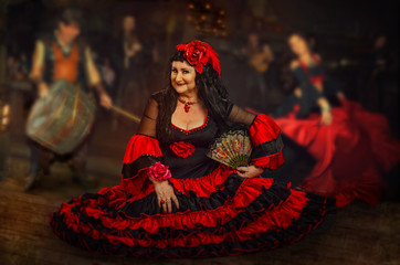 Mature woman is gypsy dancer