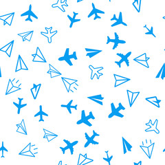 Travel, plane, aircraft, transport concept. Seamless vector EPS 10 pattern