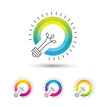 Bright colorful light bulb logo set on white background.