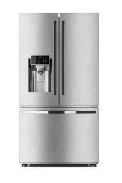 Modern domestic refrigerator with control display. 3d