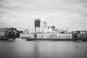 Long Exposure, Black and White, View of London Business Area - Stock Image