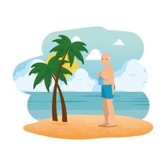 grandfather on the beach seascape scene