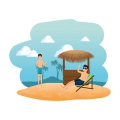 young men on the beach seascape scene