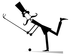 Cartoon long mustache golfer illustration isolated. Smiling mustache man in the top hat plays golf black on white illustration