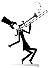 Cartoon long mustache trumpeter is playing music illustration isolated. Mustache man in the top hat playing trombone silhouette black on white