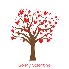 Be my Valentine card with tree and red hearts. Vector.