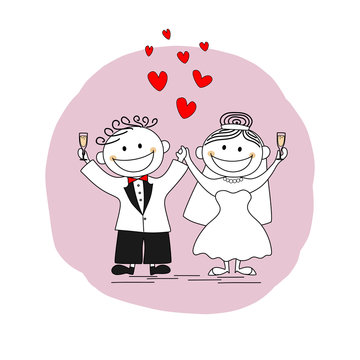 Happy just married couple toasting on their wedding day - vector illustration image