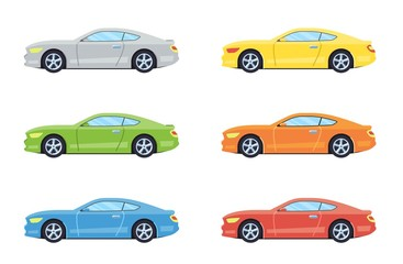 Garden Poster Cartoon cars Sport coupe car. Side view cars in different colors. Flat style. Vector illustration.