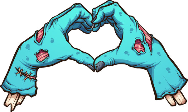 Valentine zombie hands forming a heart shape. Vector clip art illustration with simple gradients. All in single layer.