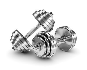 Metal sport dumbbells isolated on white background 3d