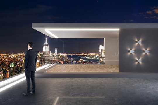 Businessman on rooftop