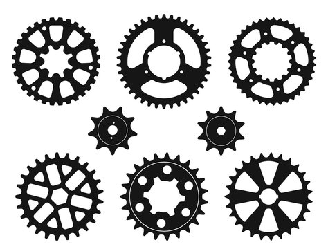 Silhouettes of the gear wheels, vector icons set