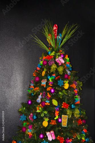 Closeup Of A Hawaiian Themed Christmas Tree Stock Photo And Royalty
