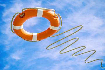 Orange lifebuoy on sky background. Salvation concept. 3d