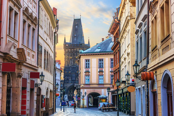 Prague street Celetna, part of the Royal Route close to the Powd Wall mural
