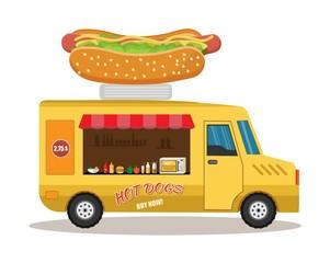 Food truck with hotdog, coffee, hamburger, vector street food background