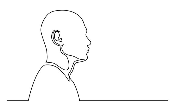 continuous line drawing of isolated on white background profile portrait of man with shaved head