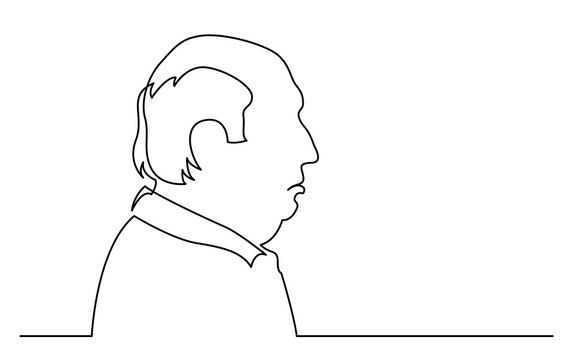 continuous line drawing of isolated on white background profile portrait of upset bald senior man