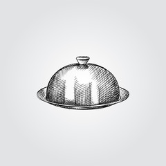 Hand Drawn dish with a lid Sketch Symbol isolated on white background. Vector of Hotel elements In Trendy Style. Engraving style pen pencil crosshatch.