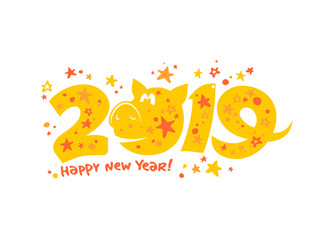 2019 year poster design with yellow pig