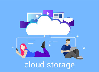 Computer device data cloud storage security flat design vector illustration. Young people use cloud storage. Easy to use and highly customizable