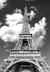 Fotobehang Eiffeltoren Eiffel Tower in Paris and white clouds