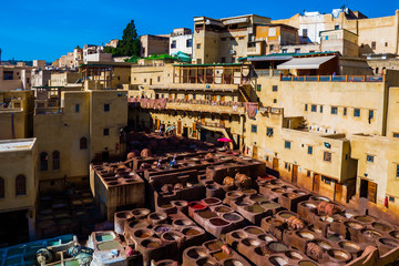 Medieval view to Leather factory, Tanneries in Fez, Morocco, Africa