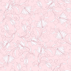 seamless  pink floral background