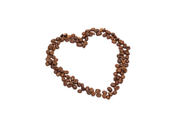 Heart from coffee beans, isolate on a white background