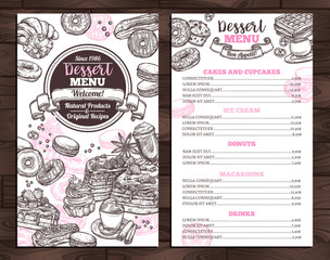 Hand drawn vector template of menu with desserts, sweets and bakery products. Design with monochrome sketch cake, cupcake, donuts, macaroons, muffins, waffle, croissant for café