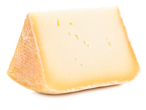 Piece of natural hard cheese isolated