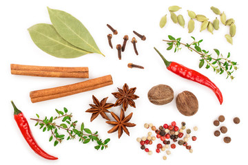 Fototapeta mix of spices isolated on a white background. Top view. Flat lay. Set or collection obraz