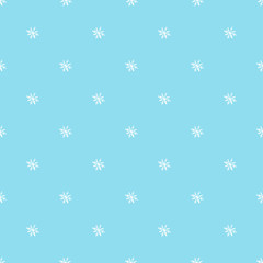 New year traditional seamless pattern with white snowflakes on blue background. Holiday christmas decor ornament