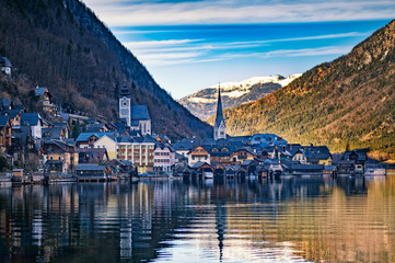 Winter View of Hallstatt, UNESCO world culture heritage site. Alps, Austria.
