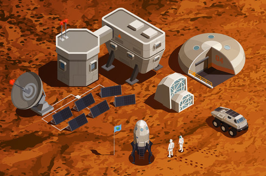 Mars Colonization Isometric Background