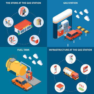 Gas Station Isometric Design Concept