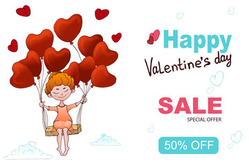 Sale banner template design. Valentine's Day greeting card for print.A little girl on balloons flying in the sky, an angel sitting on a cloud.