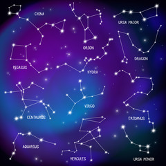 Sky Map Constellations Background