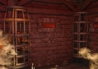 A scene of fantasy, dark dungeon with a two cage, one with a skull and one with a corpse.