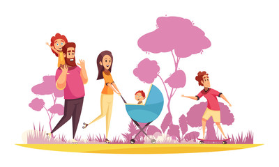 Family Summer Stroll Cartoon Illustration