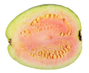 Ripe pink apple guava (Psidium guajava) fruit cut in half lengthwise isolated on white background