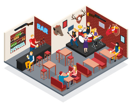 Bar Live Music Isometric Composition