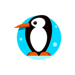 Cute penguin icon in flat style. Cold winter symbol. Antarctic bird