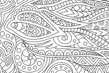 Coloring book page with decorative abstract art