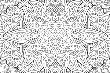 Detailed coloring book art with monochrome pattern