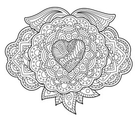 Adult coloring book page with heart and wings